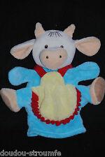 Peluche Doudou Marionnette Vache Bleue Jaune NOUNOURS Passeport Tendresse