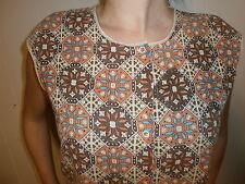 vtg House Smock Shirt Womens Orange Brown Vest 70's Homemade Dutch Tile Sign
