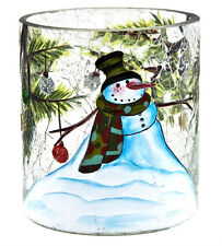 Snowman Holiday Votive Holder Crackle Glass Candle Accessory Home Decor