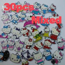 hot 30 pcs Mixed Colors/Designs Hello kitty enamel charms pendants