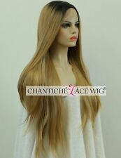 Ombre Front Lace Wigs Synthetic Hair Long Straight Blonde Wig Heat Resistant Uk