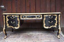 Imposant bureau 180CM double face style baroque bois massif doré à feuille d'or