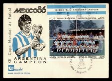 DR WHO 1986 ARGENTINA FDC WORLD SOCCER CUP SPORTS CACHET BLOCK  f95235