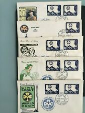 PHILIPPINES 1957 SET OF 5 DIFF CACHET FDC FIRST DAY COVER GIRL SCOUTS WORLD CAMP