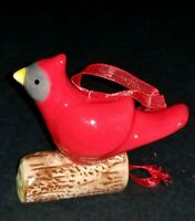 RED CERAMIC CHRISTMAS BIRD ORNAMENT STANDING ON BRANCH