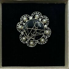 VINTAGE SILVER TONE FLOWER WITH FAUX PEARLS DESIGN PIN BROOCH, SIGNED HOLLYWOOD