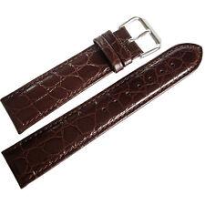15mm deBeer Mens Brown Alligator-Grain Leather Watch Band Strap