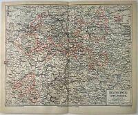 Original 1874 Map of Braunschweig, Lippe & Waldek, Germany by Meyers. Antique