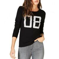 INC NEW Women's Black Studded Graphic Crewneck Sweater Top S TEDO