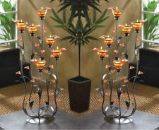 2 Tea Light Candle Holders w/ Iridescent Amber Lily Bloom Cups on Curing Stems