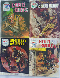 """4 Early Battle Picture Library War Comics """"Shield of Fate"""" Fleetway 1967"""