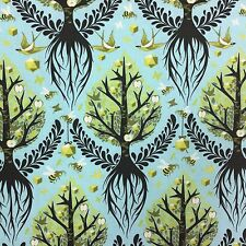 By 1/2 Yard ~ Free Spirit Birds & Bees Tula Pink Fabric ~ Tree of Life in Pool