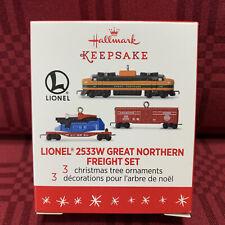 2016 Hallmark Lionel 2533W Great Northern Freight Mini Ornament Set, New Mib