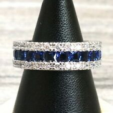 2 Ct Blue Sapphire Wedding Ring Engagement Jewelry 14K White Gold Plated Size 7