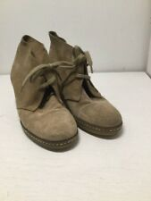 J. Crew Women's 6 M Tan Suede Lace Up Wedge Heel Chukka Ankle Boots Bootie