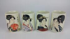Set of 4 Geisha Sake Tea Cup 5 oz Porcelain Japanese Girl Kimono Made in Japan