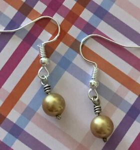 "Brighton Gold Circle Pearl Beads & Silver Scrollwork Custom Earrings 1"""