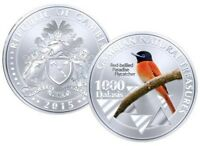 Gambia 1000 Dalasis 2015 UNC Red-bellied Paradise Flycatcher Commemorative coin