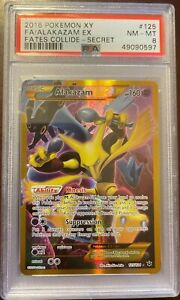 2016 Pokemon XY Fates Collide Secret Rare Alakazam EX #125 FA PSA 8 NM - MT