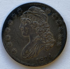 1834 Capped Bust Half Dollar High Grade Large Date See Closeups! AU Or Better
