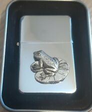 More details for frog on lily pad petrol oil windproof fliptop chrome/pewter lighter gift bnib