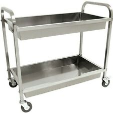 Bayou Classic 4873 Stainless Steel 2 Tray 4 Casters (2 Locking) Kitchen Cart