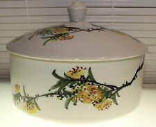 Oriental White Trinket Dish with Lid, with Floral Design possibly made in Japan