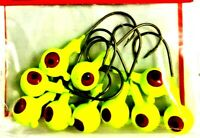 Arkie 1/8 oz. Chartreuse & Red Eyes Walleye & Panfish Jig Heads Fishing Jigs