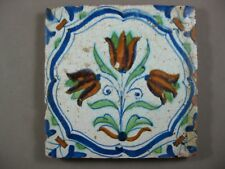 Antique Dutch polychrome flower tile three tulips 17th century - free shipping