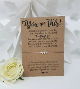 Personalised You've Got This Anxiety Worry Wish Bracelet Card Charm Friendship