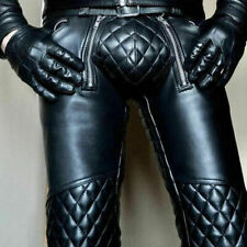 Men's Cowhide Leather Punk Kink Pants Bikers Trousers Jeans Breeches BLUF Leders