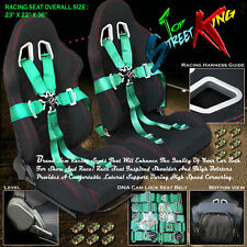 2 UNIVERSAL BLACK RACING CAR SEATS + 5-POINT CAMLOCK HARNESS GREEN SEAT BELTS
