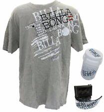 BILLABONG Mens Grey T SHIRT + BELT + White FLASK Surfwear Gift Set | SMALL