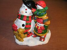 Yankee Candle Snow Folk Making A Snowman Votive Holder  NEW