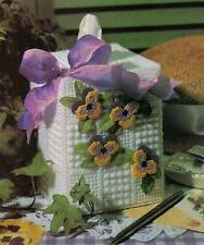 MAY DAY PANSY TISSUE BOX COVER PLASTIC CANVAS PATTERN INSTRUCTIONS