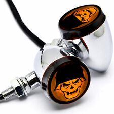 2x Universal Motorcycle Skull Chrome Turn Signal Indicators Blinker Amber Light