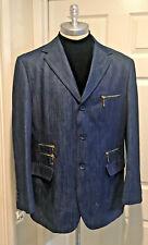 CDS Distinctive Denim Jean Suit with 4 Gold Horizontal Zippers 3 Buttons 2XL/44L