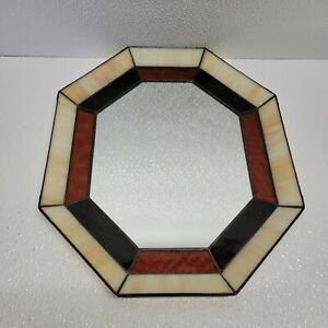 VINTAGE OCTAGON SHAPED MIRROR WITH STAINED GLASS BROWN CREAM/IVORY COLORS DECOR