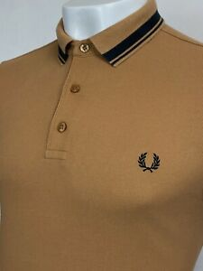 Fred Perry   Short Sleeve Contrast Collar Piqué Polo Shirt M 40 (Brown) Mod 60's