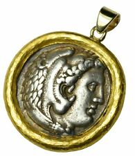 Ancient Roman Silver Tetradrachm Coin Set in Customer 22k Yellow Gold Bezel