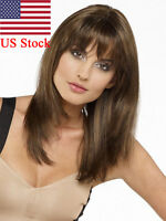 US Women's Medium Straight Natural Full Wig Synthetic Hair Cosplay Party Fashion