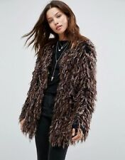 Topshop Brown Knitted All Over Fur Coat Jacket UK 12 EURO 40 US 8 BNWT RRP £150