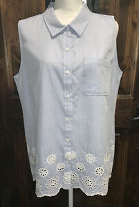 NWT Tommy Hilfiger Bottom Down Light Blue Sleevless Shirt  Women's SizeXL $69.50
