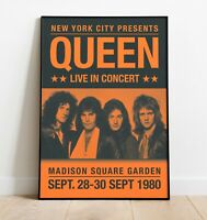 Queen Gig Poster, Reworked Concert Poster, Wall Art, Freddie Mercury Wall Art