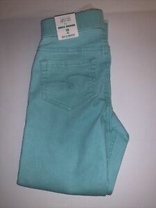 Girls Justice 10Slim Ankle Jegging Cropped Jeans Mint Green Elastic Waist W/tags
