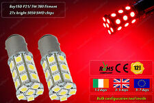2x LED Bay15D P21/ 5W 380 Xenon Red Police Look Strobe Flash Tail Stop Lights