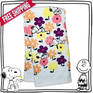 New Snoopy Peanuts Dish Hand Towel Rag Kitchen Home Decor Flowers 100% Cotton