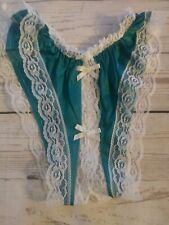 NEW Panty Open Crotch One Size Crotchless Jade w/ White Lace n Bow