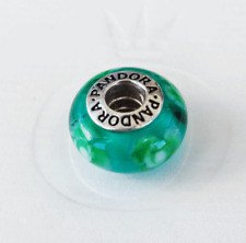 Genuine Pandora Teal Flower for You Murano Glass Charm - 790649 - retired