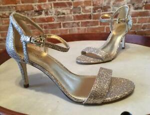 Michael Kors Silver Sand Simone Wedding Party Prom Sandal 6.5 36.5 New
